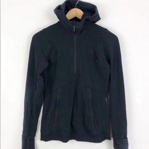 Lululemon Black Hooded Run Half Zip Jacket